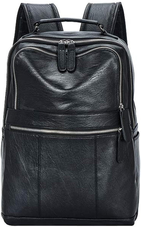 NDYE Large Capacity Black Backpack Men Leather Soft Solid MultiPocket Back Pack Male Bagpack