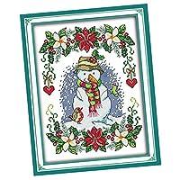 Bhuuno 雪だるまクロスステッチ刻印キットプリント済みパターンにアートクラフト愛好家 - 雪だるま 27x37cm