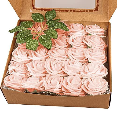 Künstliche Blumen Rosen 50 Stück Champagner Rosa Gefälschte Rosen mit Stielblatt Für Hochzeitssträuße Home Party Dekoration Festival Geschenk