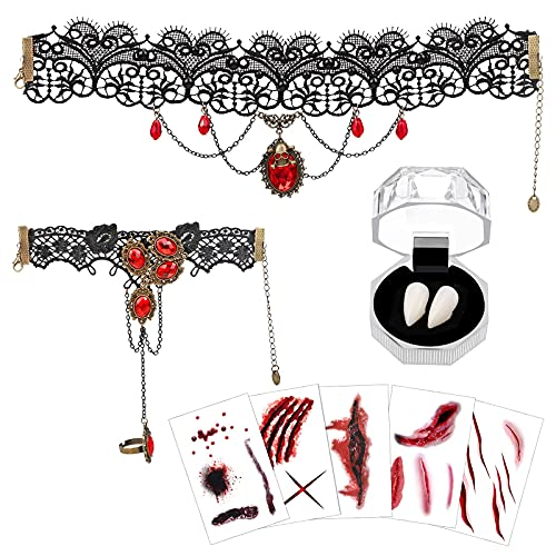 HOWAF gtico de Disfraz Accesorios, con Dientes de Colmillos de Vampiro, Collar Choker, Pulseras y Zombi Cicatrices Tatuajes para Mujer Fiesta de Halloween Disfrazar Cosplay Carnaval Accesorios