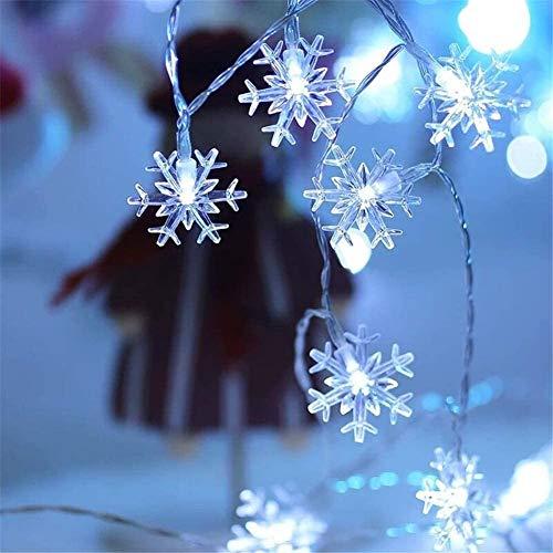 Ibello Guirnalda Navidad Guirnaldas de Copo de Nieve, 20 led 2,3m Nieves Aetificiales Decoración para Hogar, Salón, Cuarto, Puerta, Calle, Navidad, Todos los Santos