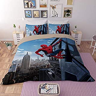 EVDAY 3D Spider Man Duvet Cover Set for Boys Ultra Soft Marvel Heroes Kids Bedding Including 1Duvet Cover,2Pillowcases King Queen Full Twin Size