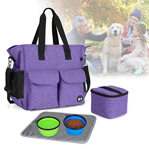 Teamoy Travel Bag for Dog Gear, Pet Supplies Tote Bag for Carrying Pet Food, Treats, Toys and Other Essentials, Ideal for Travel, Camping or Day Trips, Purple