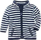 Schnizler Kinder-Jacke aus Fleece, atmungsaktives und hochwertiges Jäckchen mit Reißverschluss, gestreift, Blau (Marine/Weiß 171), 56