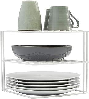 simplywire - Estantes para platos - Organizador de armarios de cocina - Diseño cuadrado de 3 niveles - Blanco