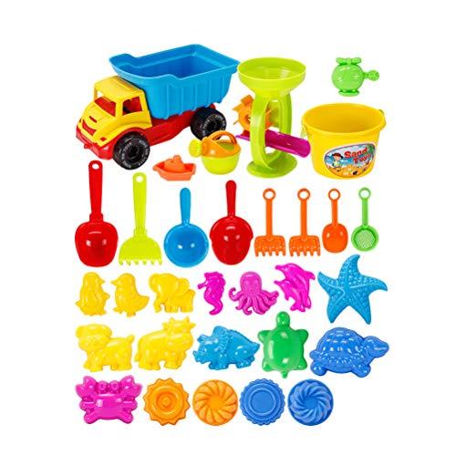 Toyvian Camión volquete Juguetes de Playa Juegos de Arena para niños Juego de Caja de Arena con una Pala de Arena Molde de Arena y Cubo 31pcs / Set (Color Aleatorio)