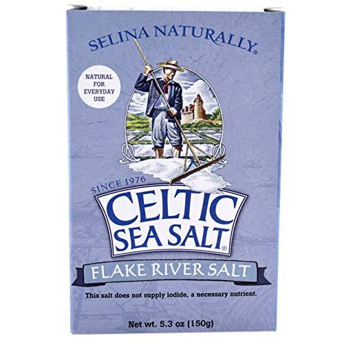 Celtic Sea Salt Fossil River Flake Salt 5.3 Oz (150 G), Natural, Handcrafted, Gourmet, Salt Flakes, Salty, 5.3 Oz