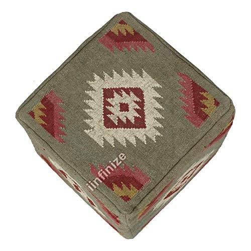 iinfinize - Pufs para sala de estar, diseño étnico Kilim, funda para puf para decoración del hogar, puf indio otomano, puf