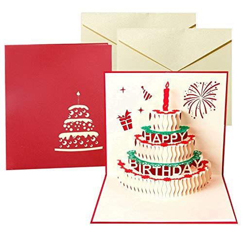3D Pop-Up-Grußkarten Geburtstag,2PCS geburtstagskarte liebe,karte,Glückwunschkarte für frauen,3D Herz Grußkarten,Pop up Karte Geburtstagskarte,Wedding Card,Karte zum Valentinstag (rot)