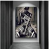 JLFDHR Patrón en Blanco y Negro Póster de Mujer Africana Impresión en HD Pintura en Lienzo Figura única Arte de la Pared Imágenes Decoración para Sala de Estar Mural-60x90cmx1 Sin Marco