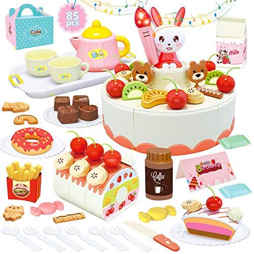 HERSITY 85 Piezas Alimentos de Juguete Corte de Frutas y Alimentos Pastel de Cumpleaños con Vela y Música Regalos para Niños Niñas 3 4 5 6 Años