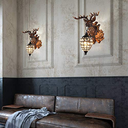 BOOU Deer Head Wall Sconce Lighting Rustic Sconce Wall Decor for Hallway Bathroom Hotel Bedside Coffee Bar Deer Head Wall Decor BN-1020A-1S BR