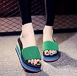 zapatillas de casa para mujer verano,Wedge de verano femenino con zapatillas, 2021 Las nuevas mujeres nuevas sin fondo, hombres y mujeres son adecuados para zapatillas de punta abierta, sandalias ext