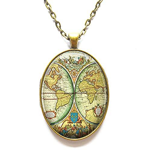 Collar de mapa del mundo para mujer, joyería de mapa del mundo para viajeros – Colgante de mundo Dainty World – Collar de encanto minimalista, N339