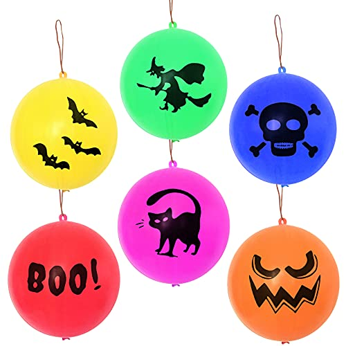 Halloween Punch Balloons 36 Pcs Halloween Party Favors for Kids Colorful Punching Balloons, Skull Witch Bat Trick or Treat Halloween Balloons Gifts for Birthday School Classroom Game Toy Rewards