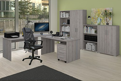 Möbel Pracht 9-teiliges Büro Arbeitszimmer Komplett Set Phoenix in Sonoma-Eiche/Sorrento Dekor inklusive Bürostuhl