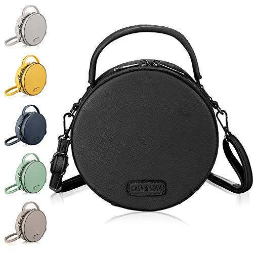 CASAdiNOVA runde Handtasche Damen - veganes Leder, kleine Umhängetasche Damen, Schultertasche - Frauen-Hand-Tasche Schwarz
