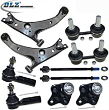 10 Pcs Front Suspension Kit-2 Lower Control Arm 2 Lower Ball Joint 2 Inner 2 Outer Tie Rod End 2 Sway Bar Link Compatible with Toyota Corolla 1996 1997 1998 1999 2000 2001 2002 EV303 ES2382 K80336