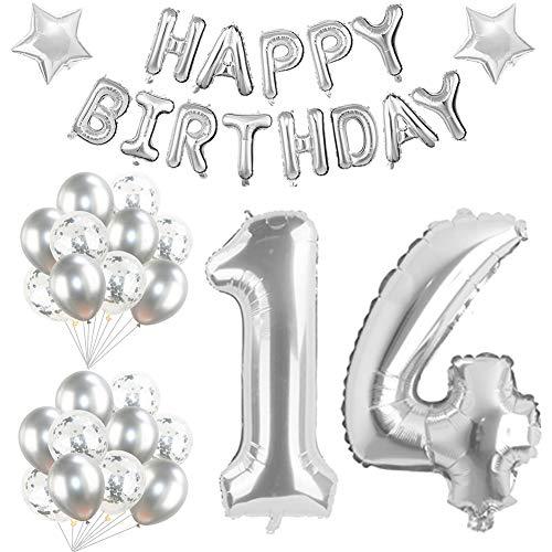 Youngneer - Globo de cumpleaños de 14 helio gigante con estrella plateada de látex, 101 cm, para 40 cumpleaños, boda, fiesta, mujer, hombre, cumpleaños