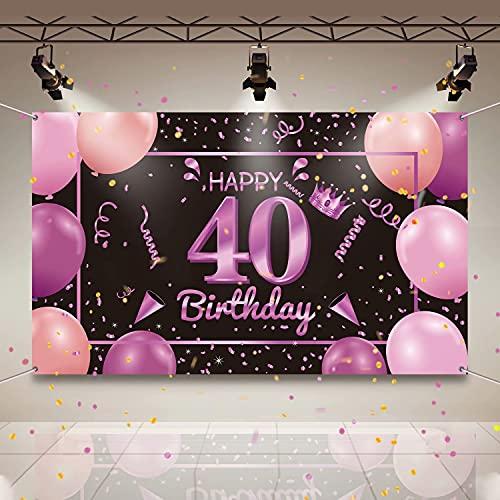 Banydoll 40 Geburtstag Frauen,deko 40. Geburtstag Frauen,40.Geburtstagsfeier Dekorationen Hintergrund Geburtstagsbanner,40.Geburtstag Frauen und Männer,Extra große Größe,40.Poster Schwarz Dekoration