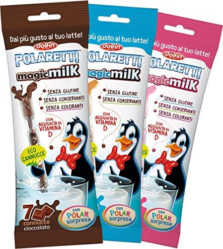 Dolfin Polaretti Magicmilk Cannucce Cioccolato, Fragola E Biscotto - 12 Confezioni (84 Cannucce Polaretti)