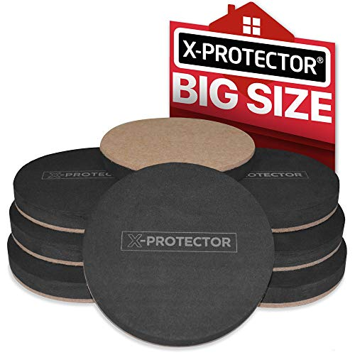 Felt Sliders X-PROTECTOR (8-Pieces) 4 3/4 inch Wood Furniture Sliders - Heavy Duty Sliders – Reusable Hardwood Floor Sliders - Felt Furniture Sliders HARD SURFACES - Move Your Furniture EASY & SAFELY!
