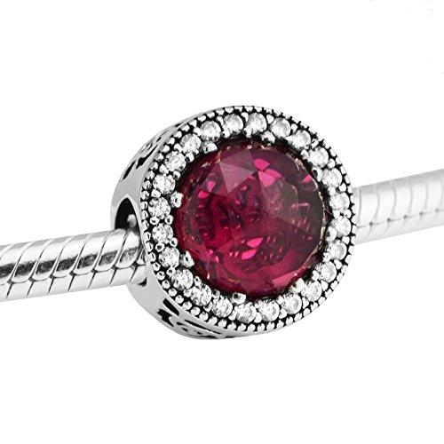 BAKCCI Primavera de cristal rojo rosa de Belle's Radiant DIY se adapta a pulseras originales Pandora 925 Charm joyería de moda