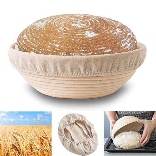9' Round Banneton Proofing Basket,Natural Rattan Made,Baking Bowl Dough for Large Bread Baking,Home Bakers and Hotels Use,Rising Dough Baskets Set Includes Cloth Liner
