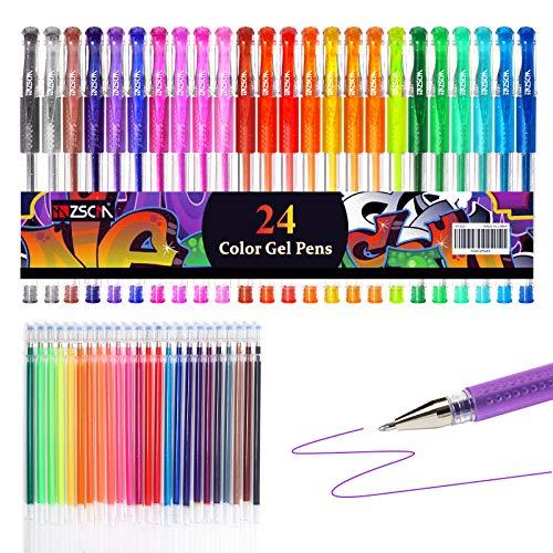 Penne Gel Glitter ZSCM Confezione da 48 Penne Gel Colorate Il Set include 24 Pennarelli Gel, 24 Ricariche, Penne Glitter per Bambini Libri da Colorare per Adulti Disegnare Scrapbooks Journaling