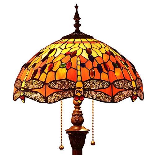 Bieye L30712 Libelle Tiffany Stil Glasmalerei Stehlampe mit 16 Zoll breiten handgefertigten Lampenschirm für Wohnzimmer Schlafzimmer, 65-Zoll groß, Orange