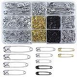 Natuce 500PCS 7 Größen Sicherheitsnadeln mit Aufbewahrungsbox, Quiltnadeln Sicherheitsnadel, Metall Sicherheitsnadeln für DIY Fertigkeit-Herstellung und Kleidung (19,22,28,32,36,45,54mm)