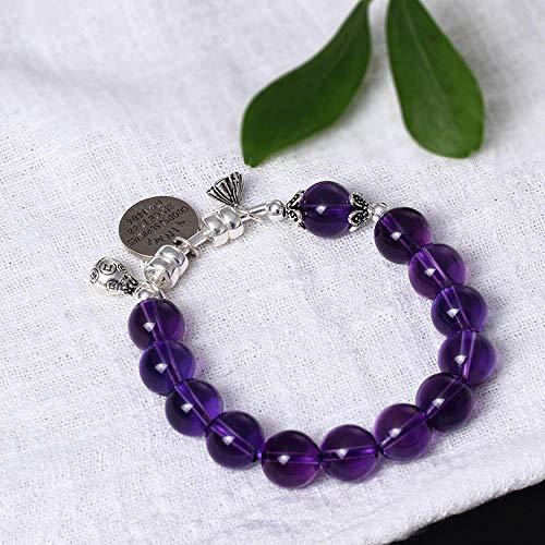 LLXXYY armband voor vrouwen jaargang 925 sterling zilver, paars kristallen kralen & buis met gravure kaart oorbellen charm sieraden personaliseren voor vrouwen mannen baby meisje