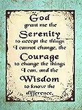 Froy Serenity Prayer Motivational Wand Blechschild Retro