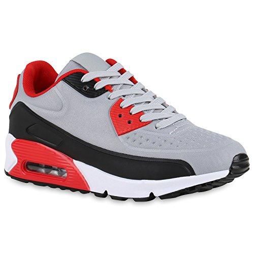 stiefelparadies Damen Herren Unisex Sport Runners Sneakers Lauf Trendfarben Schuhe 140849 Grau Schwarz Rot 37 Flandell