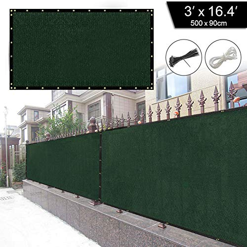 longdafei Balkon Sichtschutz UV-Schutz blickdichte wetterbeständige Balkonbespannung Balkonverkleidung mit Kabelbindern HDPE-Spezialgewebe 5 Meter (90x500cm) (Grün)