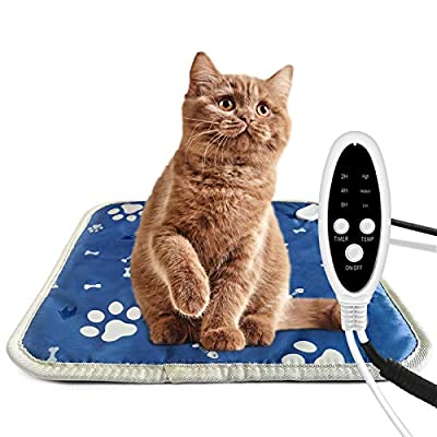 Heated Cat Puppy Bed Blanket Heated Pet Pad Bed Electric Pet Heat Mat for Cat Kitten and Dog 45 x 45 CM