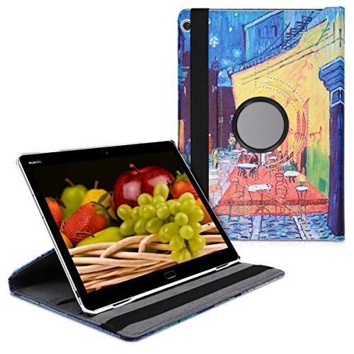 kwmobile Funda Compatible con Huawei MediaPad M3 Lite 10 - Carcasa de Cuero sintético para Tablet Van Gogh Azul/Amarillo/Naranja