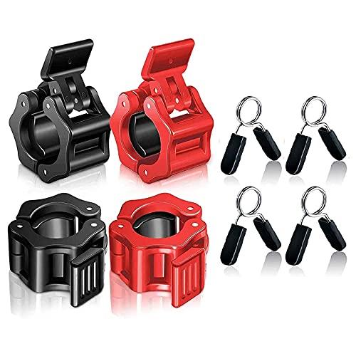 OVBBESS Abrazaderas de barra de liberación rápida de 1 pulgada con pinzas de resorte para levantamiento de pesas, entrenamiento de fuerza