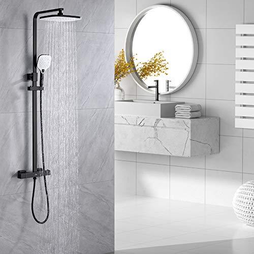 Auralum Schwarz Duscharmatur mit Thermostat, Duschset Brausegarnitur mit 25X20 Regendusche und 3 Strahlarten Handbrause, höhenverstellbar Duschstange Brause.