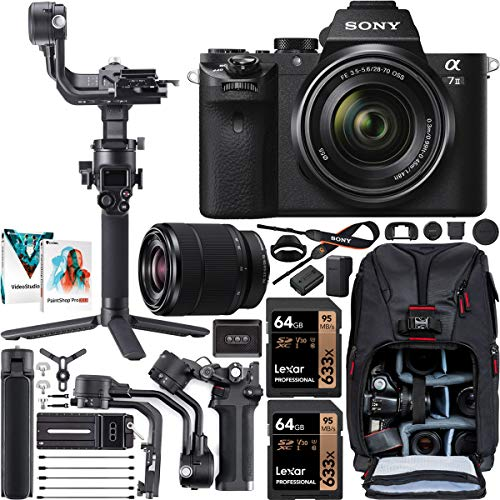 Sony a7 II Full-Frame Alpha Mirrorless Digital Camera a7II + 28-70mm Lens ILCE-7M2/K Filmmaker's Kit with DJI RSC 2 Gimbal 3-Axis Handheld Stabilizer Bundle + Deco Photo Backpack + Software