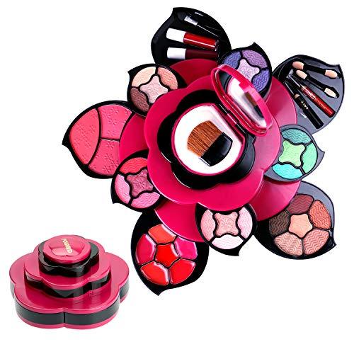 Kits de maquillaje Conjunto de regalo de paleta de maquillaje de flores para niñas y mujeres adolescentes - Pétalos expandidos a 3 niveles - Juegos completos para principiantes, Cosplay