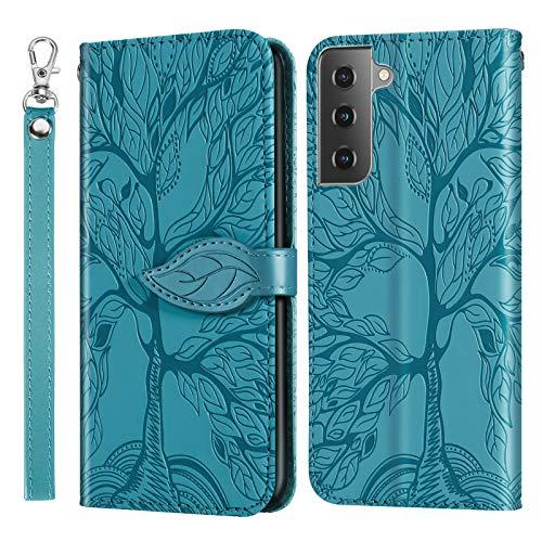 Jajaful Handyhülle für Samsung Galaxy S21 / S30 Hülle - Brieftasche Flip Cover Zubehör Hülle Kunstleder Tasche Schutzhülle Etui mit Ständer,Kartenfach & Magnetverschluss - Blau