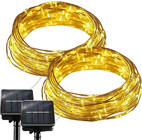 Luces solares de alambre para exteriores, 2 unidades de 100 LED 8 modos de luz impermeable, recubierto de PVC, luces de hadas de alambre de plata para jardín, patio, fiesta,boda,(blanco cálido)