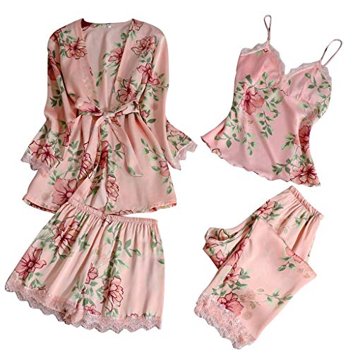 Xinantime- Women's Three Sets of Pajamas Satin Pajamas Set Silk Sleepwear Sexy Sling Nightwear Gift Lingerie Set (✿Pink,XX-Large)
