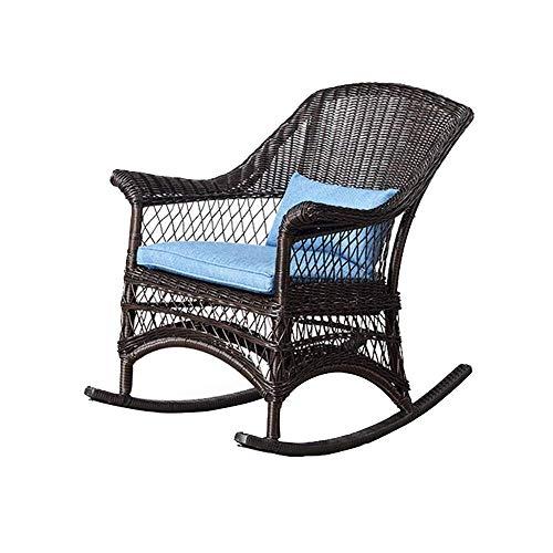 WFFF Mecedora PE Rattan Marco de aleación de Aluminio Silla reclinable Relajante para Sala de Estar, Patio y terraza