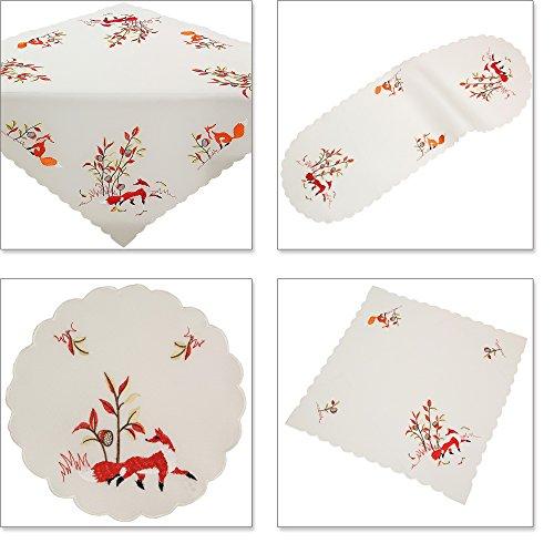 Quinnyshop Renard Rouge Broderie Chemin de Table 40 x 90 cm Optique de Lin, Crème