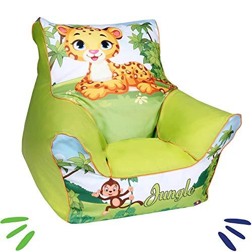 DELSIT universelles Kindersitzsack Kinder Sitzsack Spielzimmer für Jungen und Mädchen DSCHUNGEL Grün
