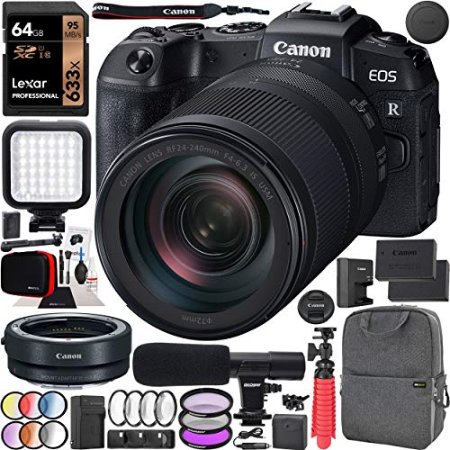 Canon EOS RP Full-Frame Mirrorless Digital Camera Body with RF 24-240mm F4-6.3 IS USM Lens Kit with Mount Adapter EF-EOS R + Deco Gear Photo Video Backpack Case Extra Battery Microphone Monopod Bundle