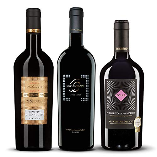 Primitivo di Manduria *Dreier-Set Mini-Deluxe* - Sessantanni | Zolla | Classe 66 - die drei beliebtesten Primitivos Italiens in einem Paket! (3 x 0.75 l)