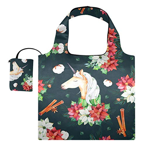 Reusable Grocery Shopping Bags - Christmas Flowers Cute Unicorn Foldable Tote Large Durable Reusable Cloth Bags with Pouch